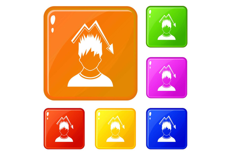 man-with-falling-red-graph-over-head-icons-set-vector-color