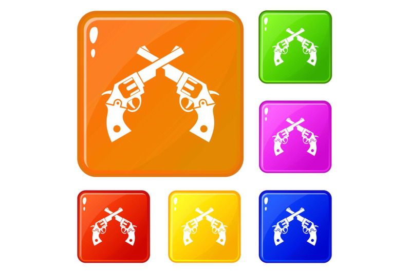 revolvers-icons-set-vector-color