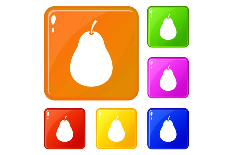 pear-icons-set-vector-color