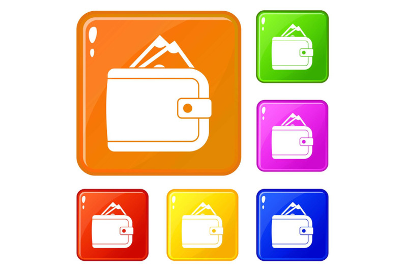 purse-with-money-icons-set-vector-color