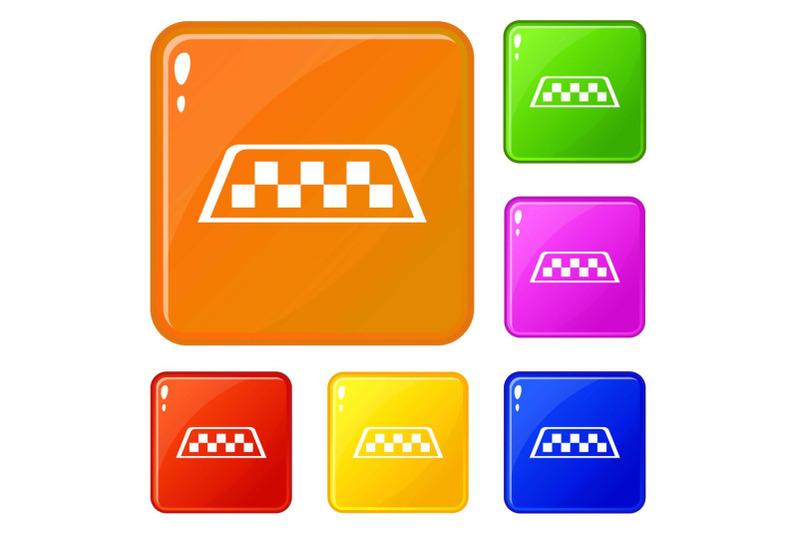 checker-taxi-icons-set-vector-color