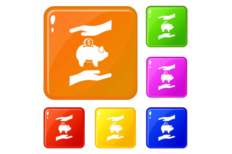piggy-bank-and-hands-icons-set-vector-color