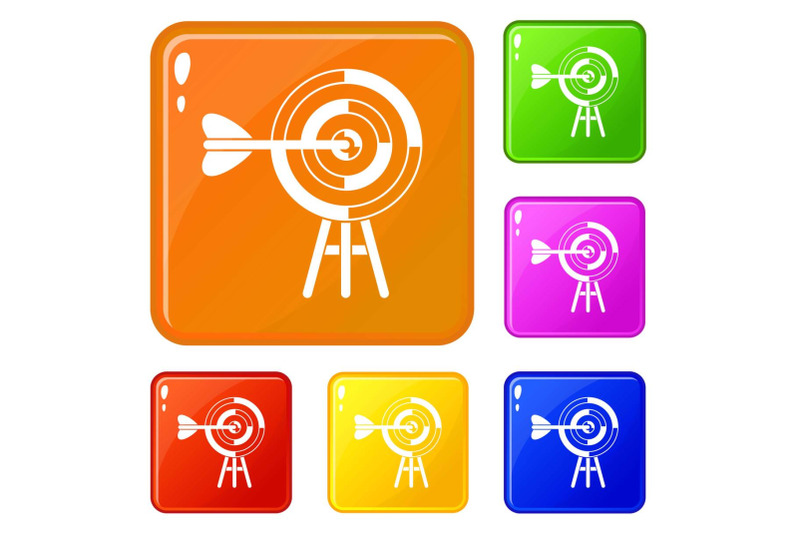 target-with-an-arrow-icons-set-vector-color