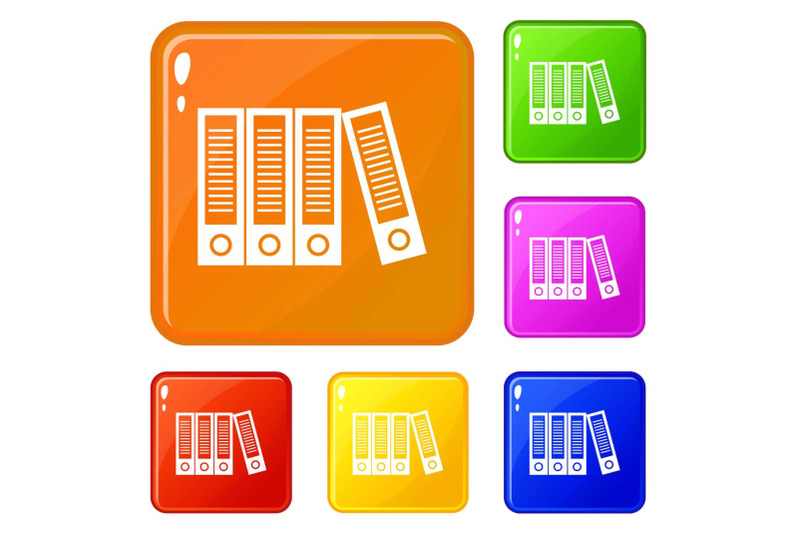 office-folders-icons-set-vector-color
