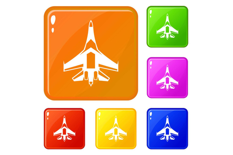 jet-fighter-plane-icons-set-vector-color