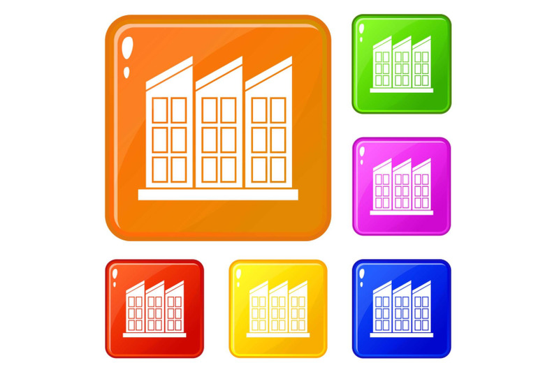 building-icons-set-vector-color