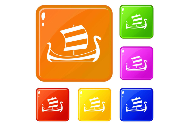 medieval-boat-icons-set-vector-color