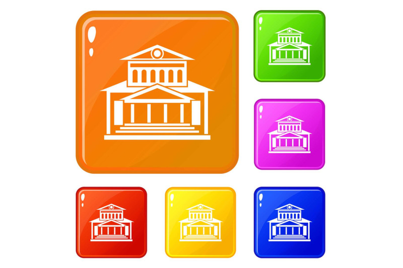 theater-building-icons-set-vector-color