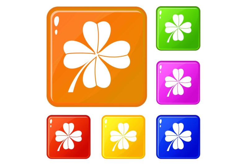 four-leaf-clover-icons-set-vector-color