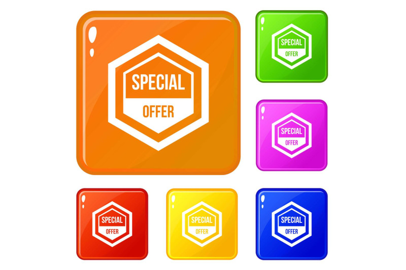 special-offer-pentagon-icons-set-vector-color