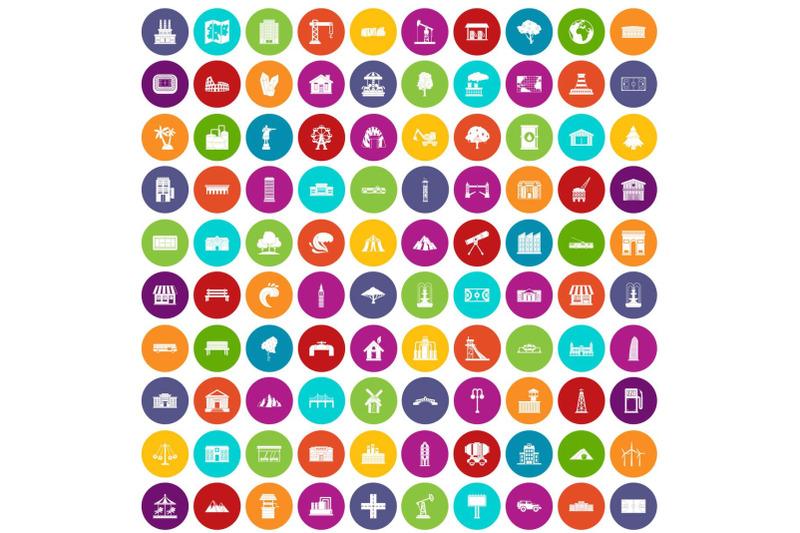 100-landscape-element-icons-set-color