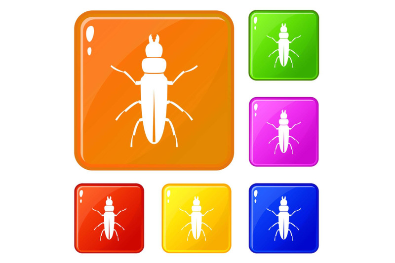 beetle-insect-icons-set-vector-color