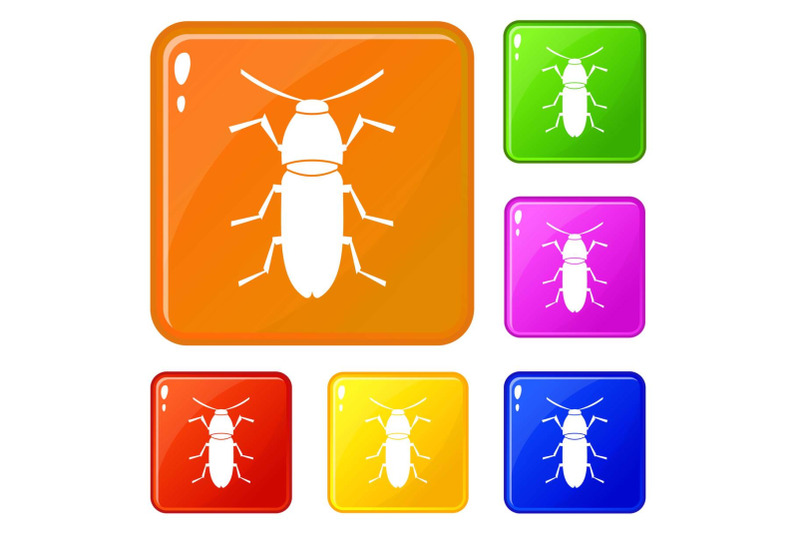 cereal-leaf-beetle-icons-set-vector-color
