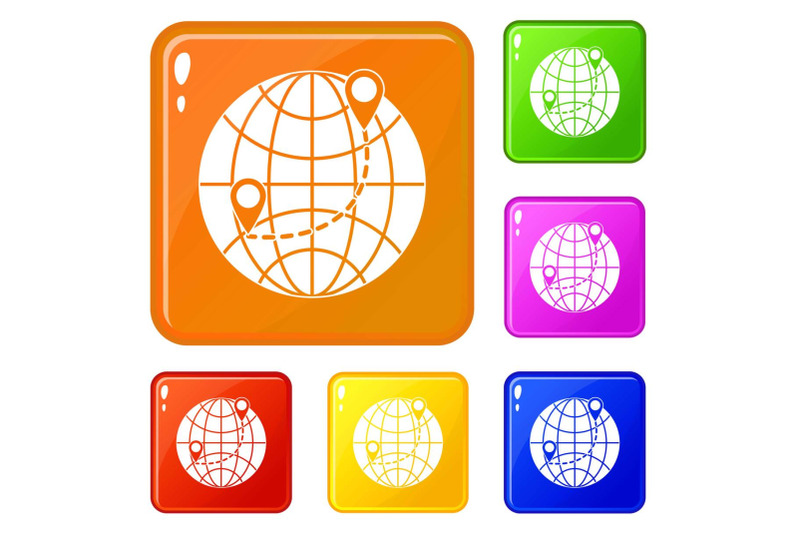 globe-icons-set-vector-color