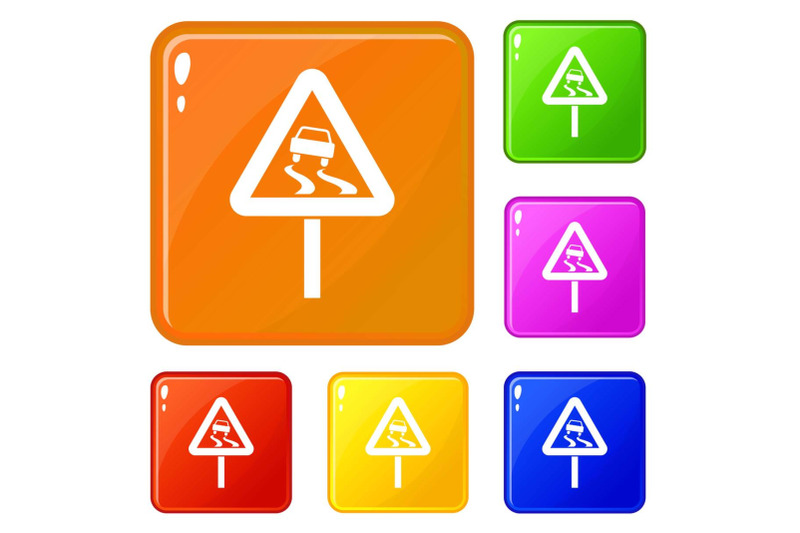 slippery-when-wet-road-sign-icons-set-vector-color