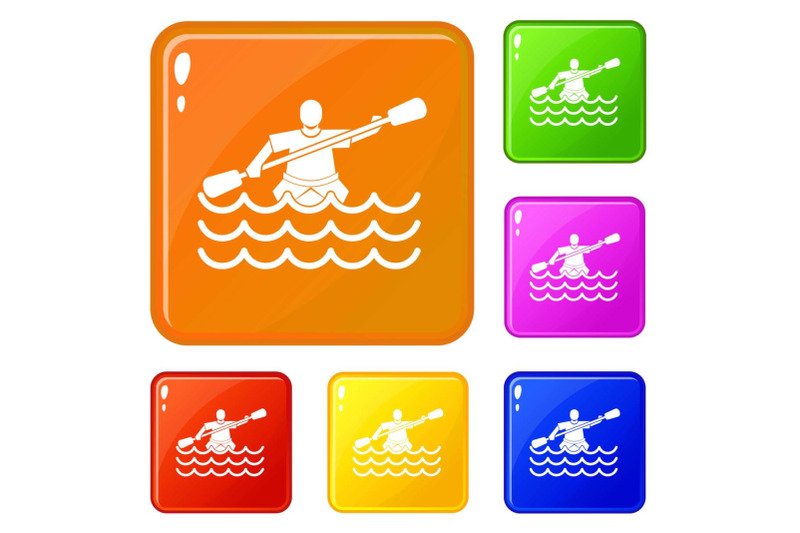 male-athlete-in-a-canoe-icons-set-vector-color