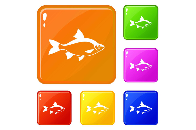 river-fish-icons-set-vector-color