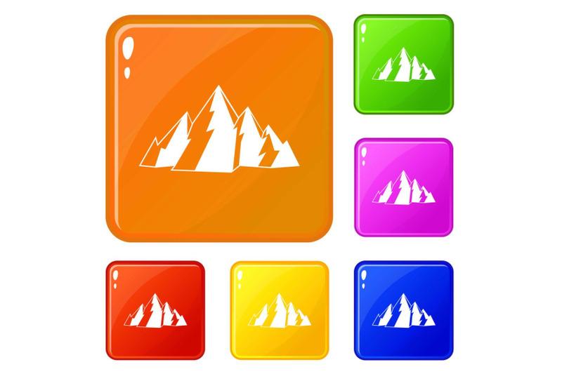 mountain-icons-set-vector-color