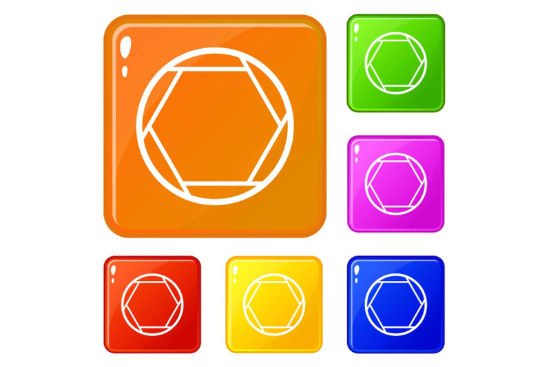 closed-objective-icons-set-vector-color