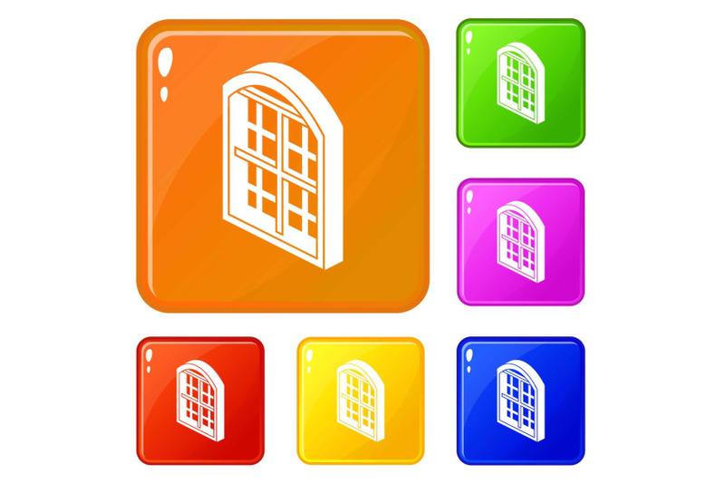 restaurant-window-frame-icons-set-vector-color