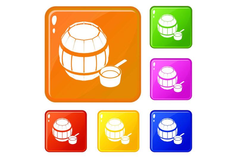 barrel-honey-icons-set-vector-color