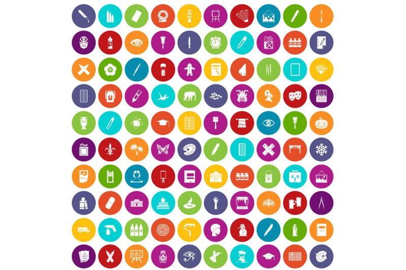100-paint-school-icons-set-color