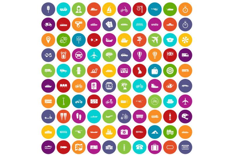 100-public-transport-icons-set-color