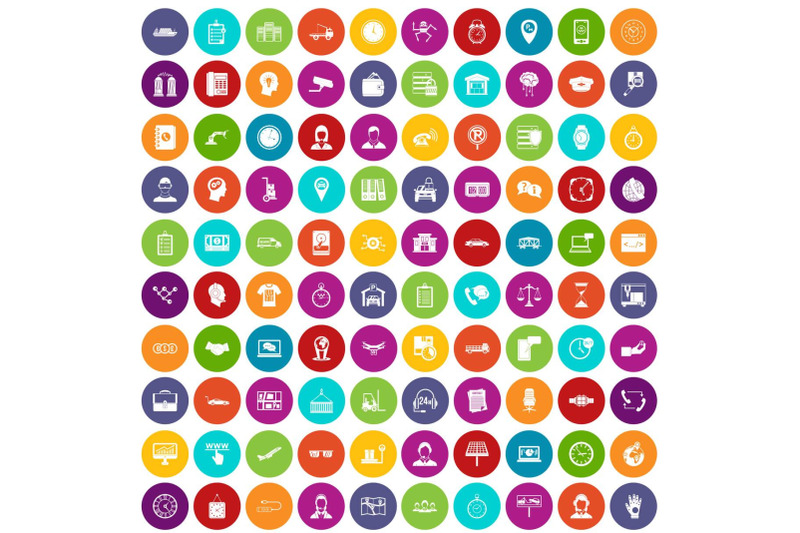 100-working-hours-icons-set-color