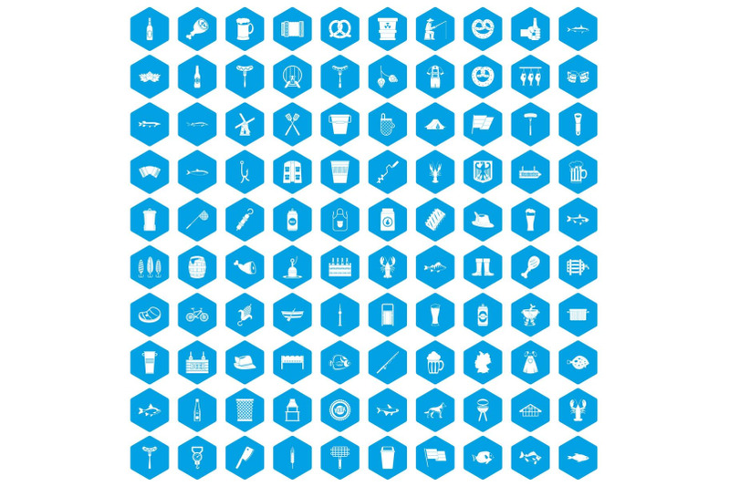 100-beer-icons-set-blue