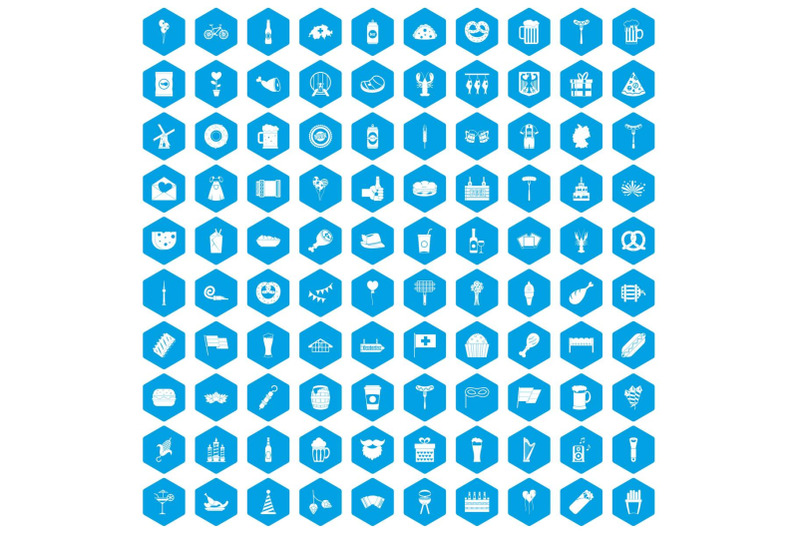 100-beer-party-icons-set-blue