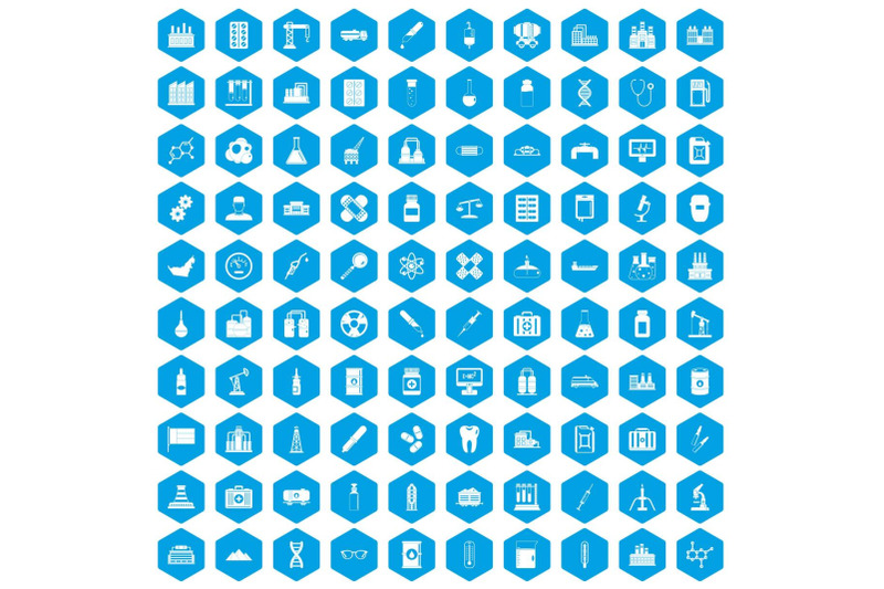 100-chemical-industry-icons-set-blue