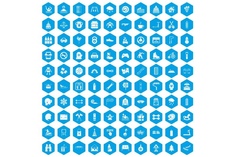 100-children-activities-icons-set-blue