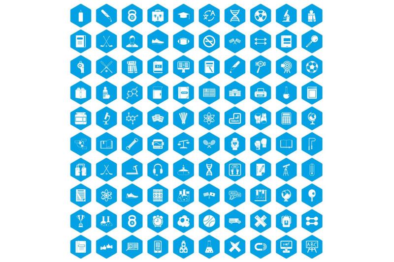 100-college-icons-set-blue