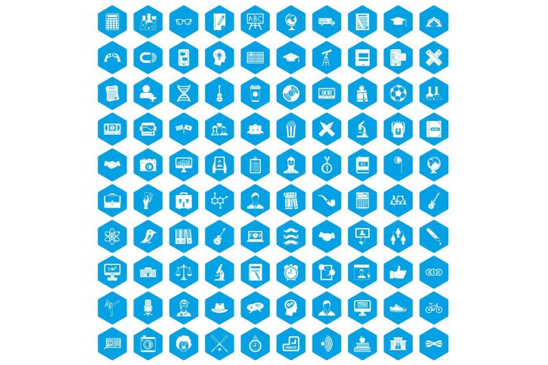 100-student-icons-set-blue
