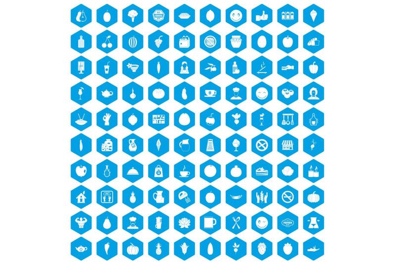 100-vegetarian-cafe-icons-set-blue