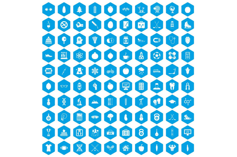 100-well-person-icons-set-blue
