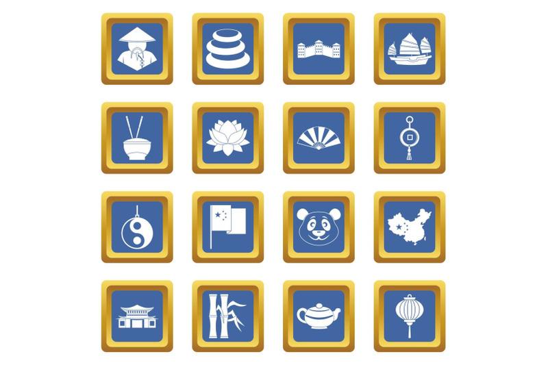 china-travel-symbols-icons-set-blue