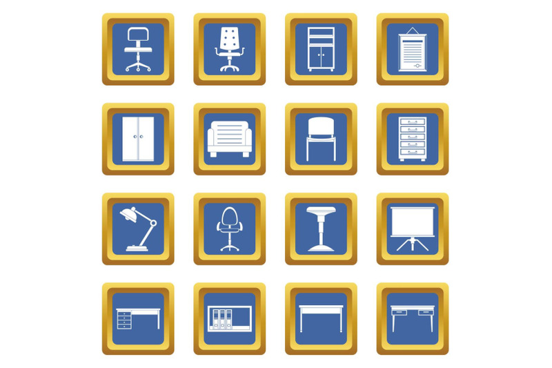 office-furniture-icons-set-blue