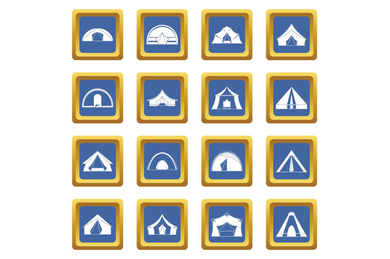 tent-forms-icons-set-blue