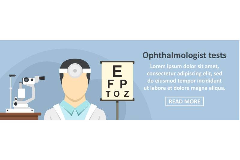 ophthalmologist-tests-banner-horizontal-concept