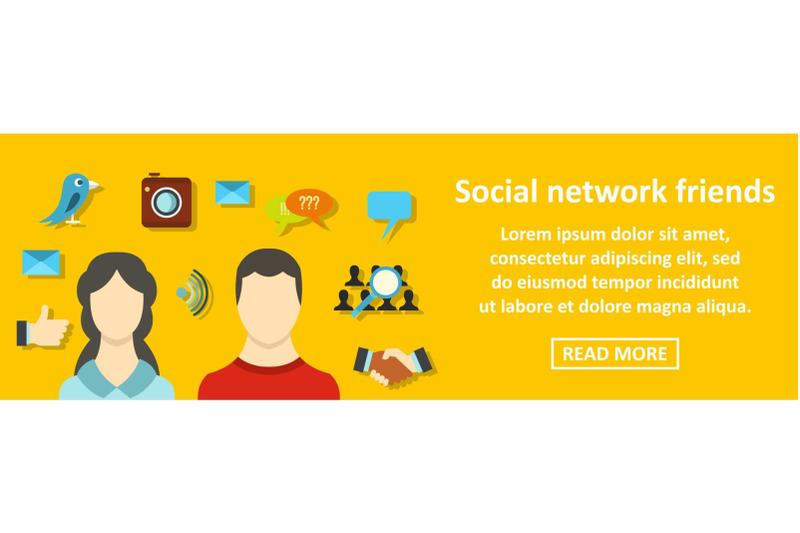 social-network-friends-banner-horizontal-concept