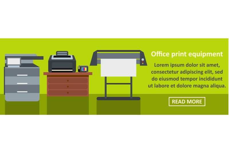 office-print-equipment-banner-horizontal-concept