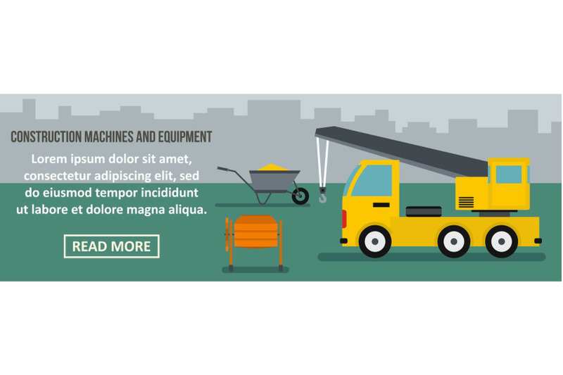 construction-machines-and-equipment-banner-horizontal-concept