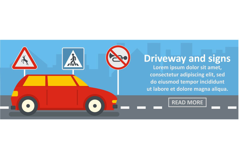 driveway-and-signs-banner-horizontal-concept