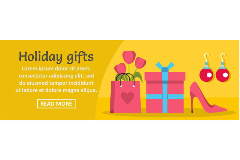 woman-holiday-gifts-banner-horizontal-concept