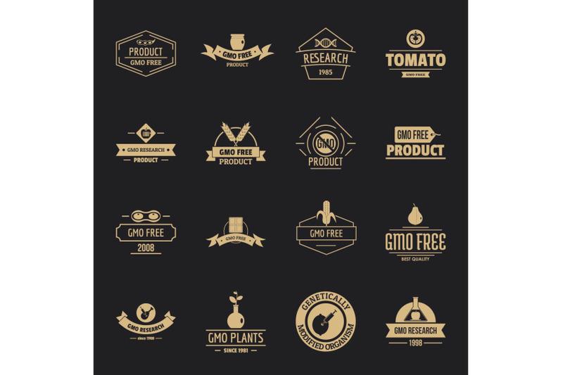 gmo-food-logo-icons-set-simple-style