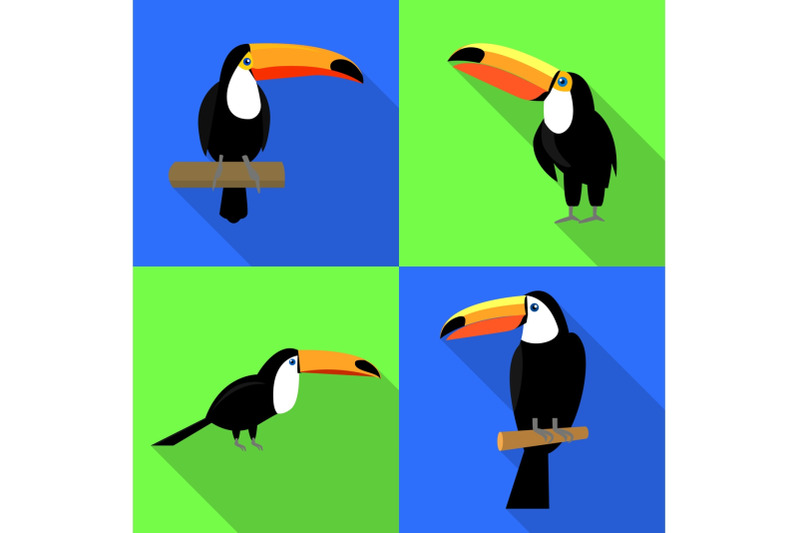toucan-icons-set-flat-style