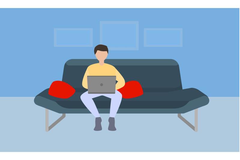 freelancer-on-sofa-concept-banner-flat-style