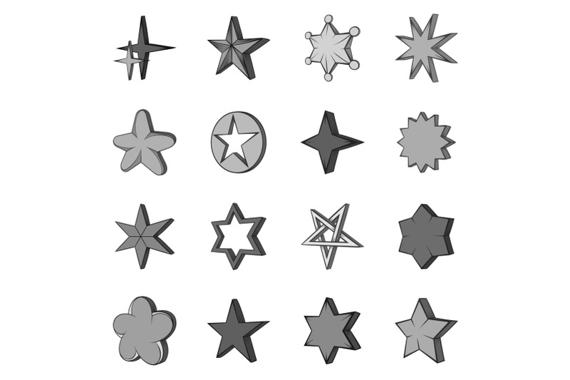 star-icons-set-in-black-monochrome-style