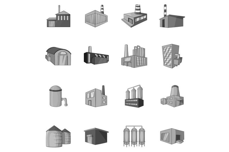 factory-plant-icons-set-black-monochrome-style